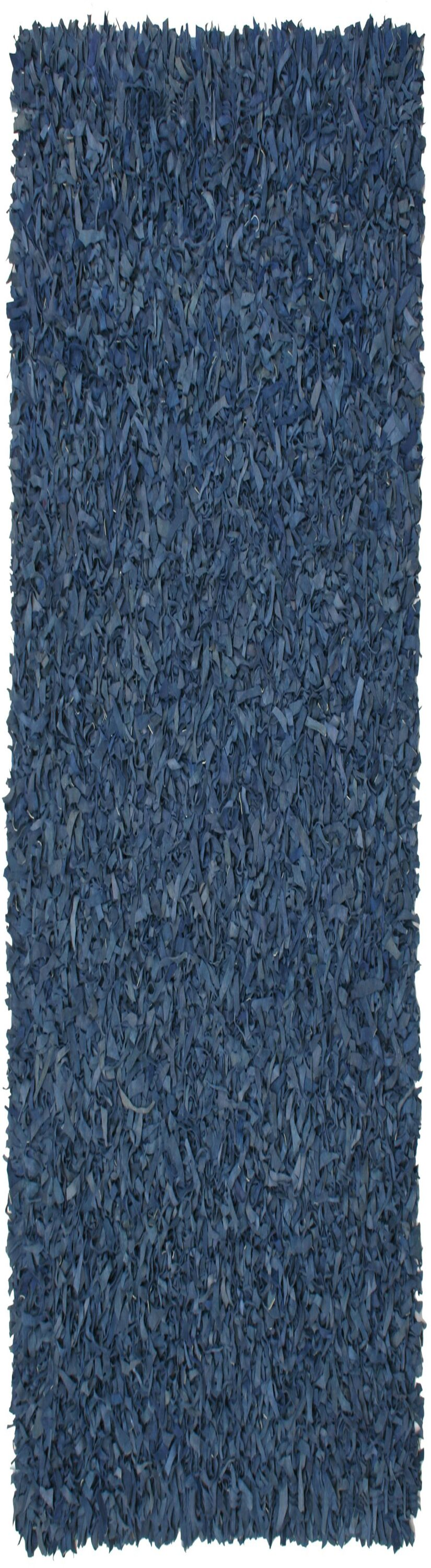 Baum Leather Shag Blue Area Rug Rug Size: Runner 2'5