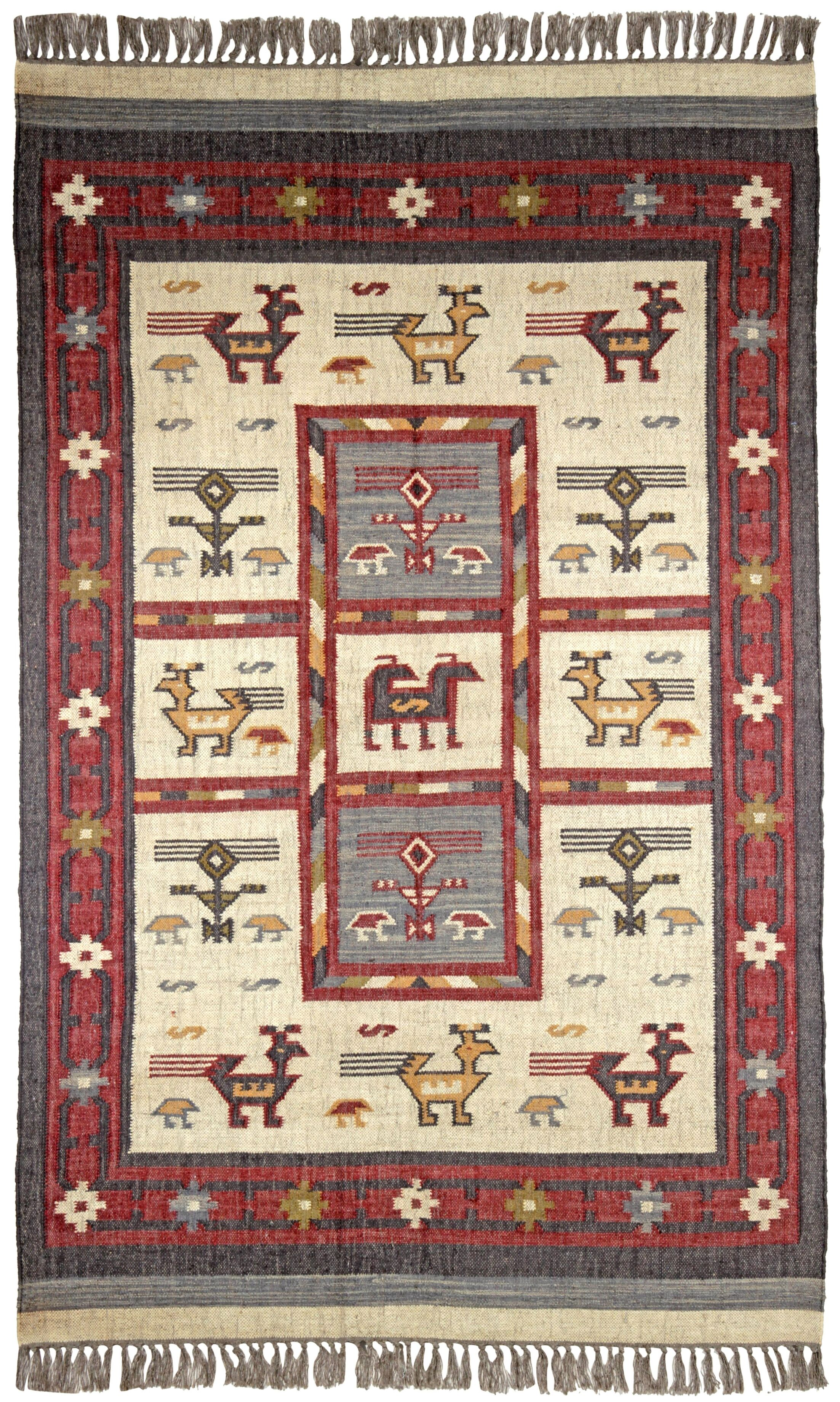 Hacienda Off-White / RedTribal Area Rug Rug Size: 10' x 14'