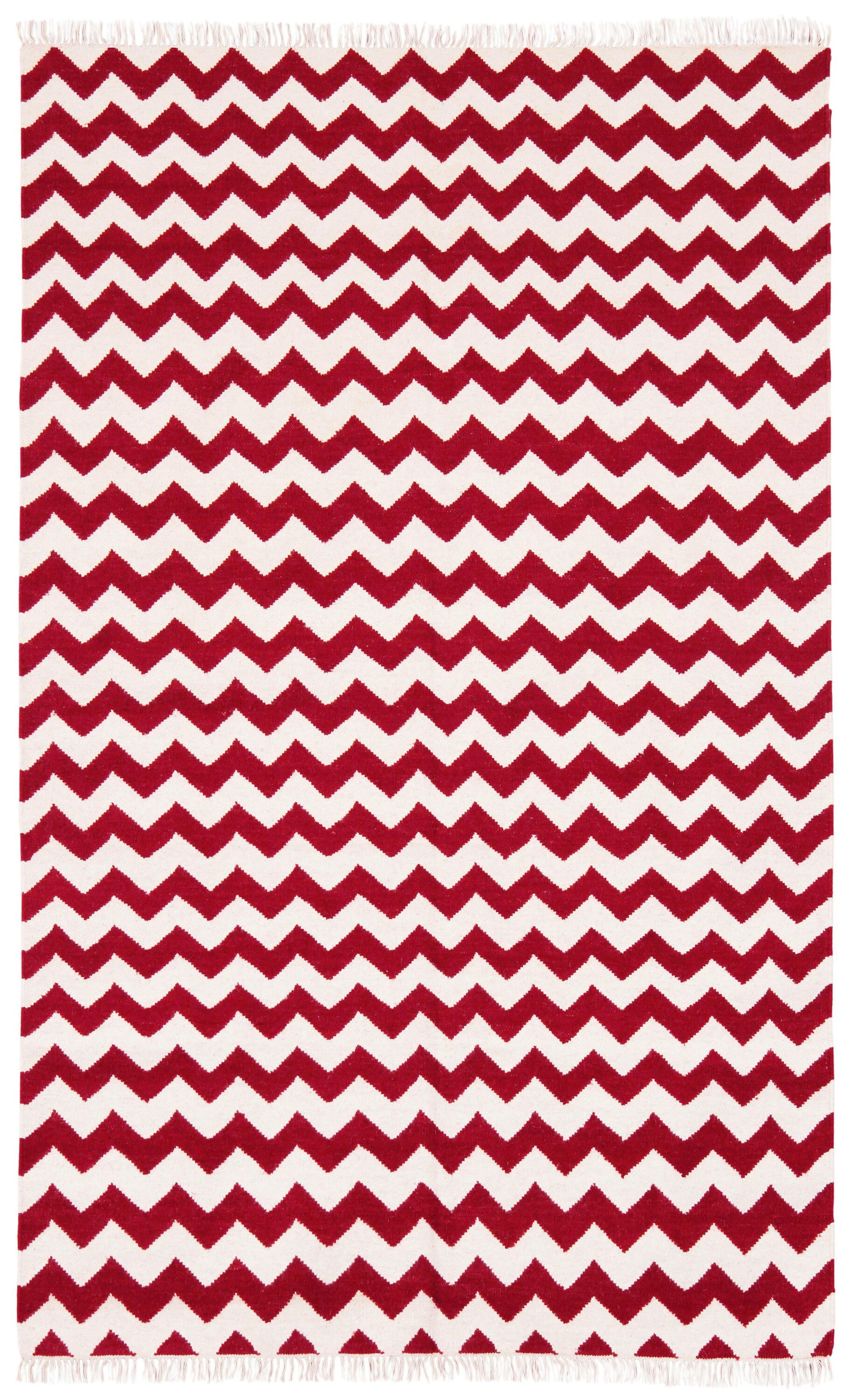 Hacienda Red/White Chevron Area Rug Rug Size: 5' x 8'