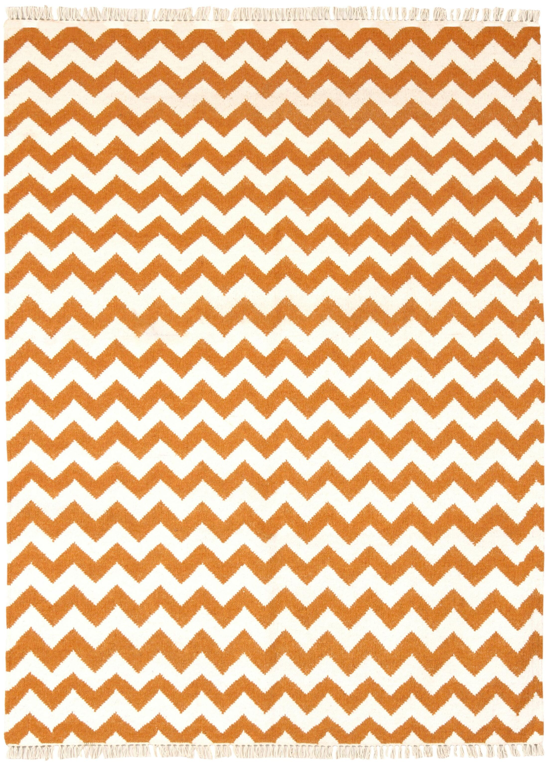 Hacienda Orange/White Chevron Area Rug Rug Size: 8' x 10'
