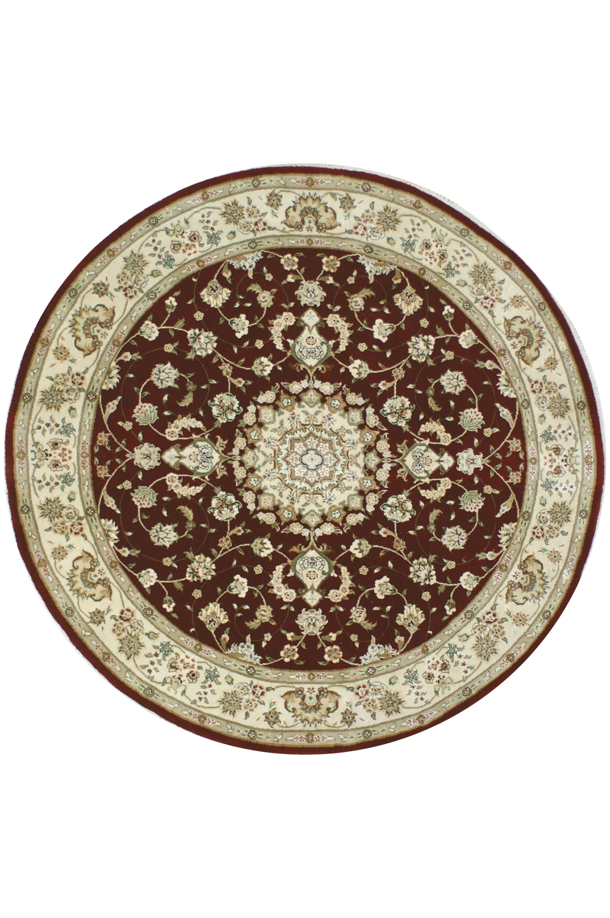 Hand-Tufted Burgundy/Red Area Rug Rug Size: Round 5'6