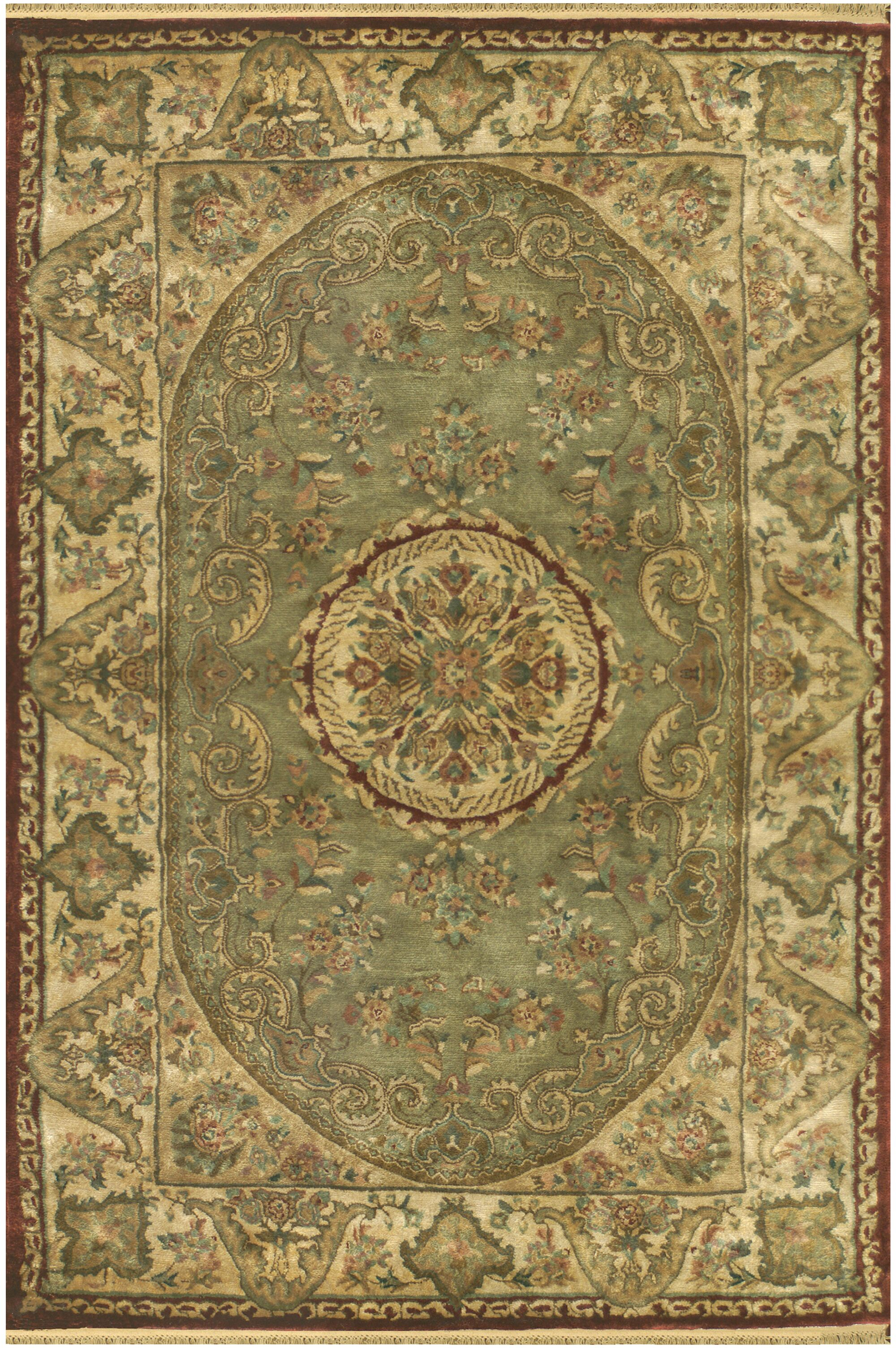 Savonnerie Hand-Tufted Sage Green Area Rug Rug Size: Runner 2'6