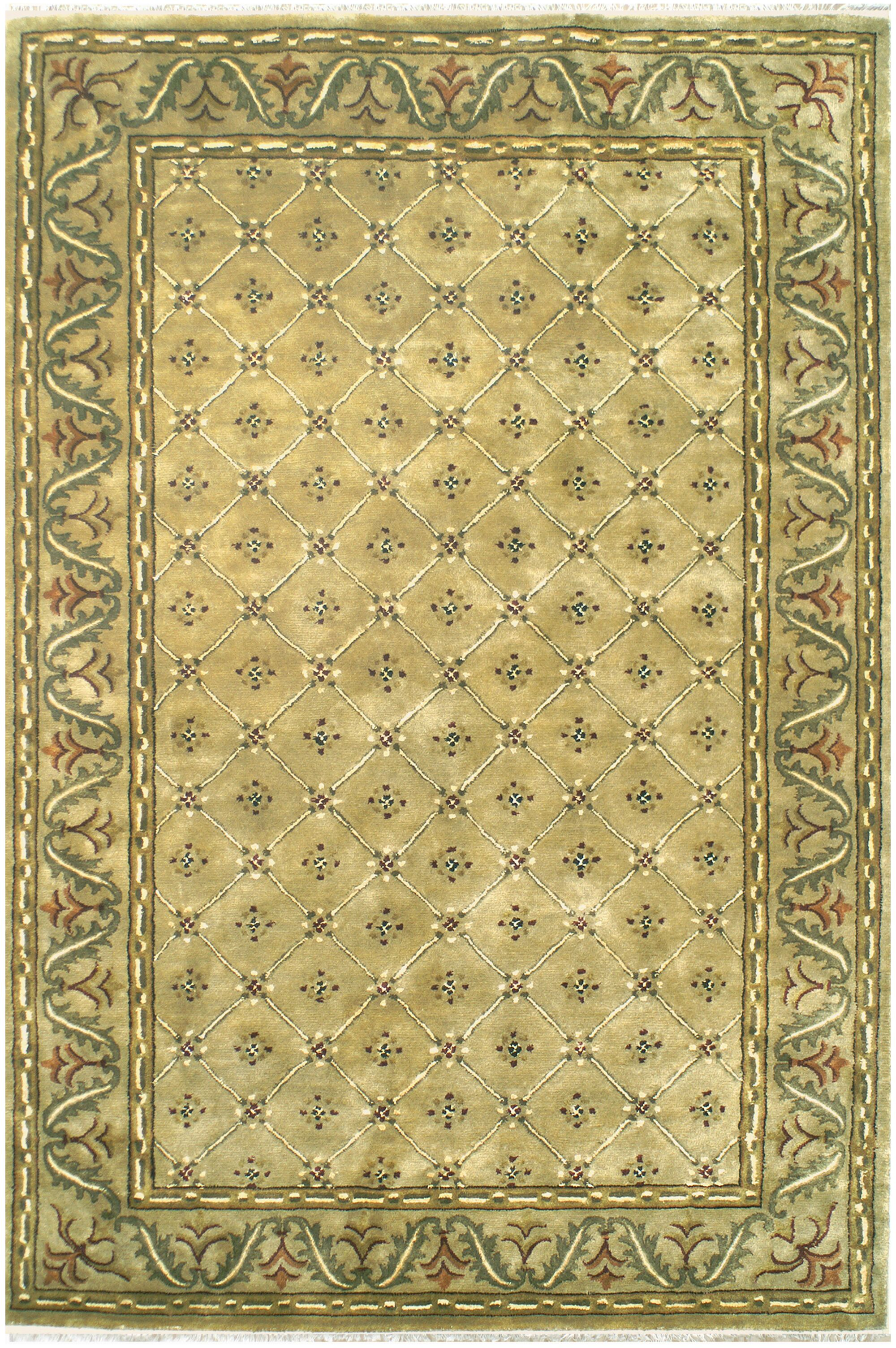 English Hand-Tufted Beige Area Rug Rug Size: 9'6