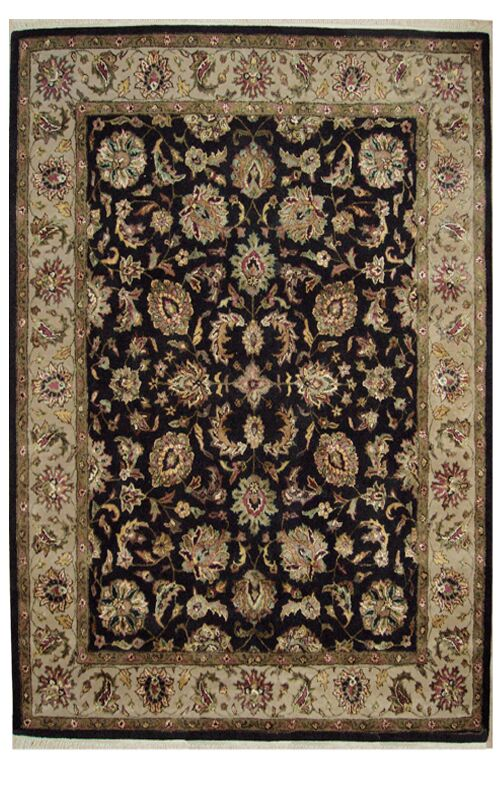 Agra Hand-Tufted Black Area Rug Rug Size: 7'6
