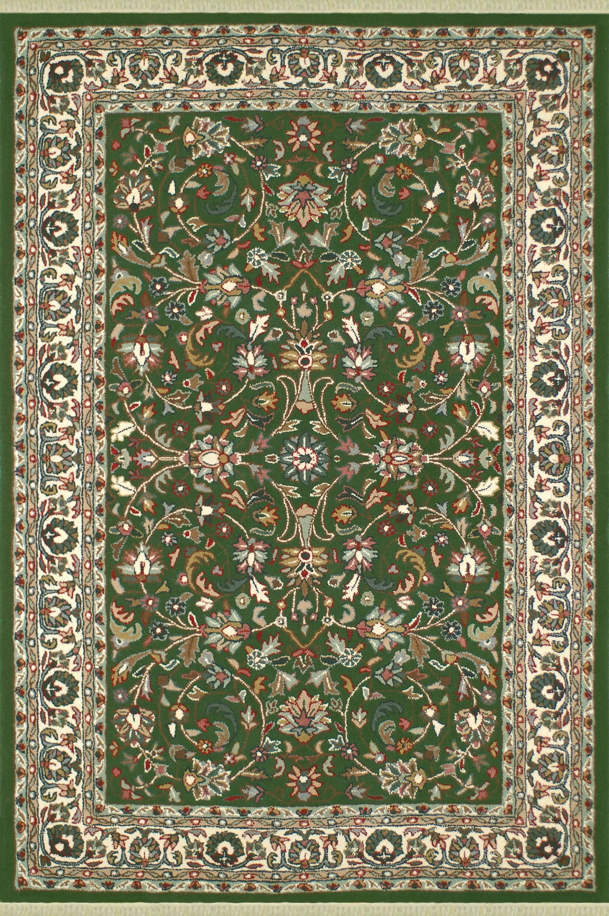 American Home Classic Kashan Emerald/Ivory Area Rug Rug Size: 8'6