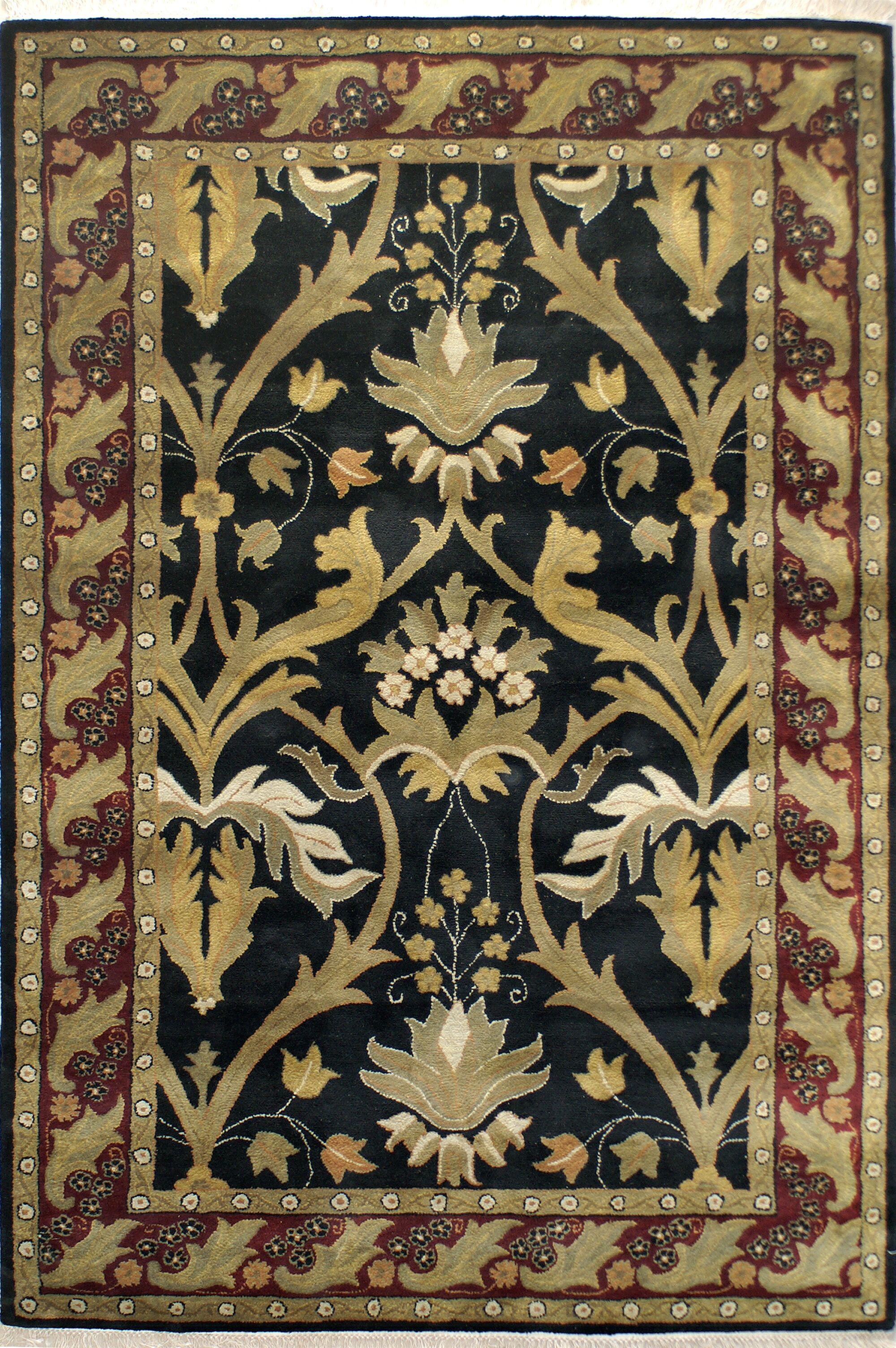 American Home Classic Arts & Crafts Black/Burgundy Area Rug Rug Size: 7'6