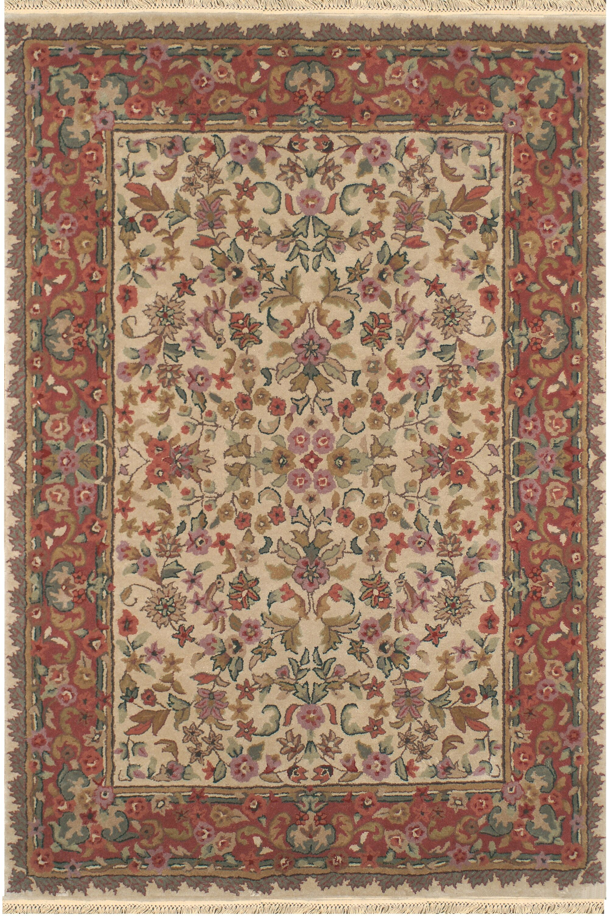American Home Classic Tabriz Antique Ivory/Rose Area Rug Rug Size: Runner 2'6
