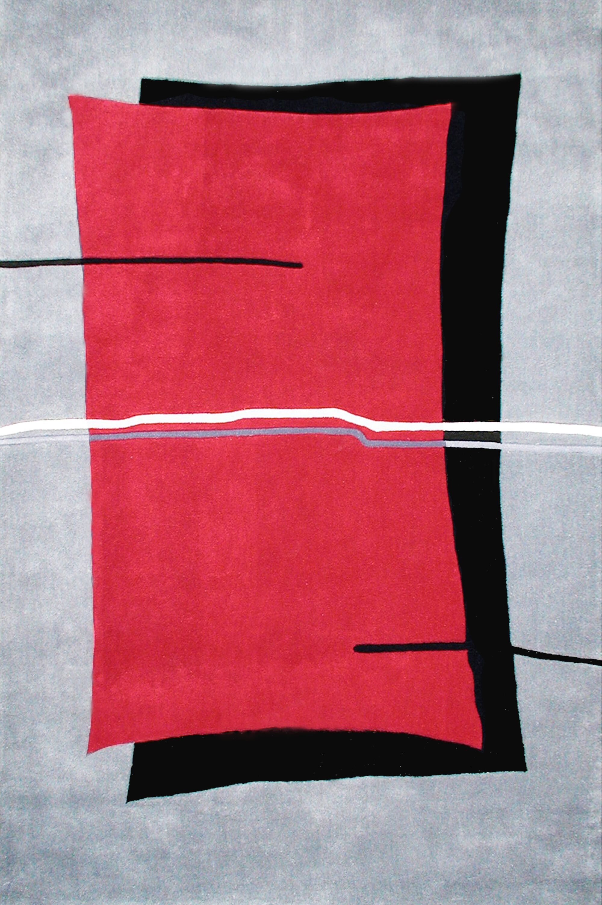 Handmade Red/Grey Area Rug Rug Size: Rectangle 3'6