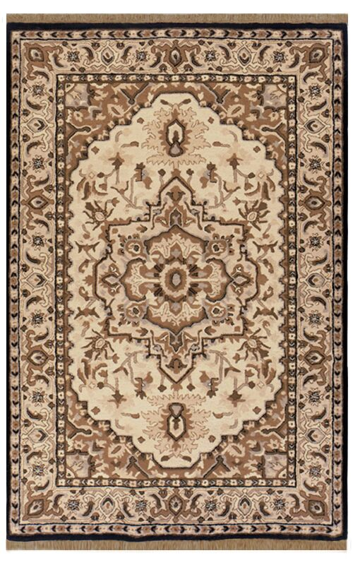 American Home Classic Heriz Taupe/Black Area Rug Rug Size: Runner 2'6