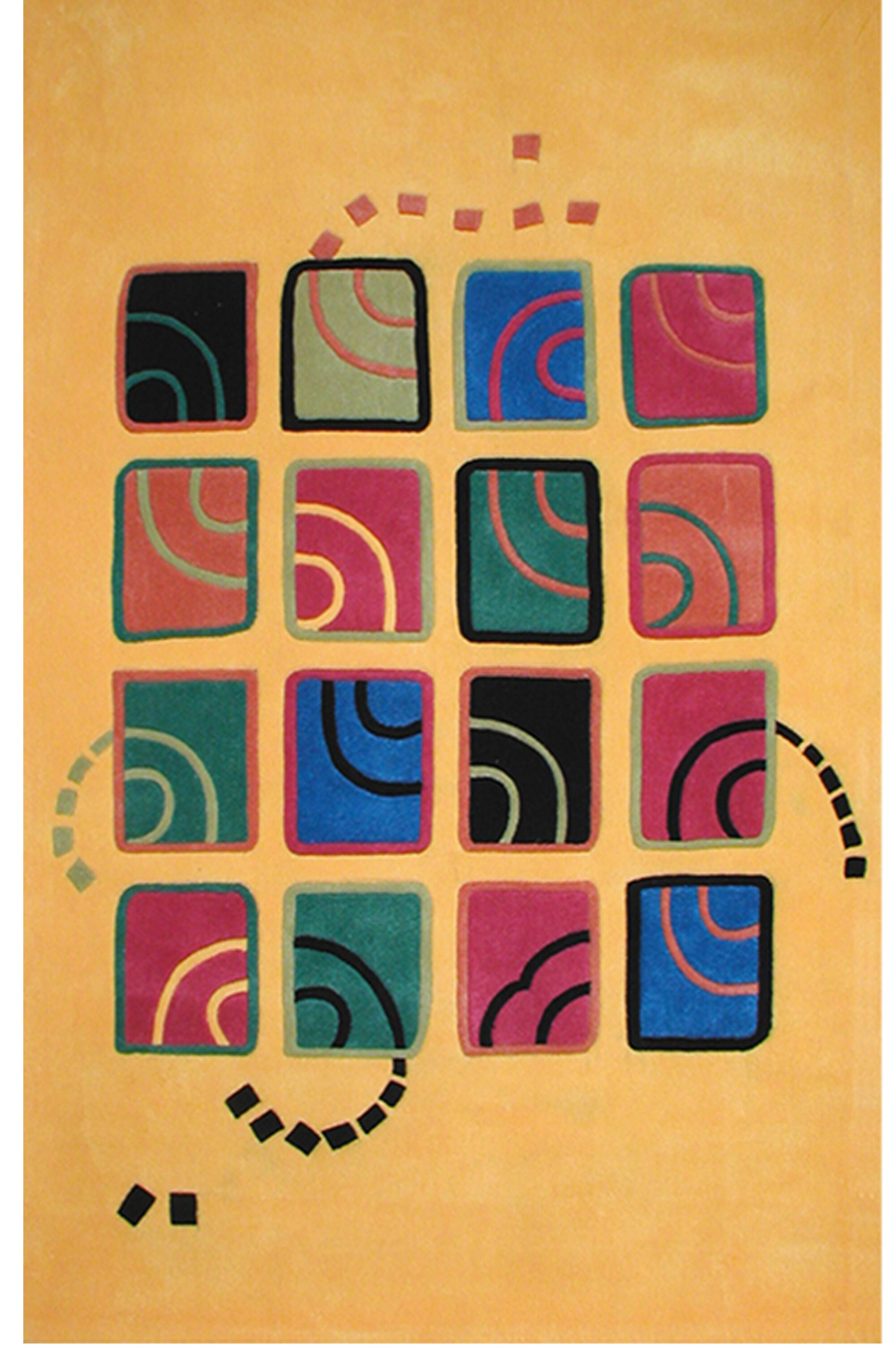 Bright Swirling Blocks Yellow Area Rug Rug Size: 5' x 8'