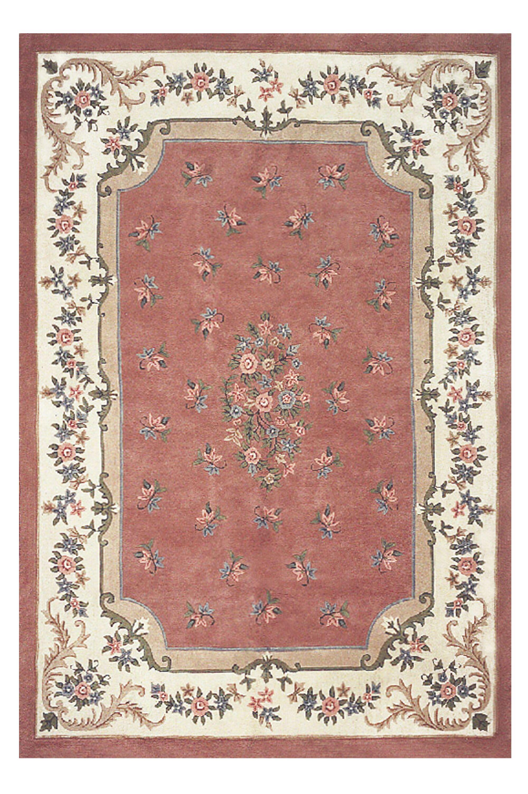 Floral Garden Red/Pink Area Rug Rug Size: Oval 5'6