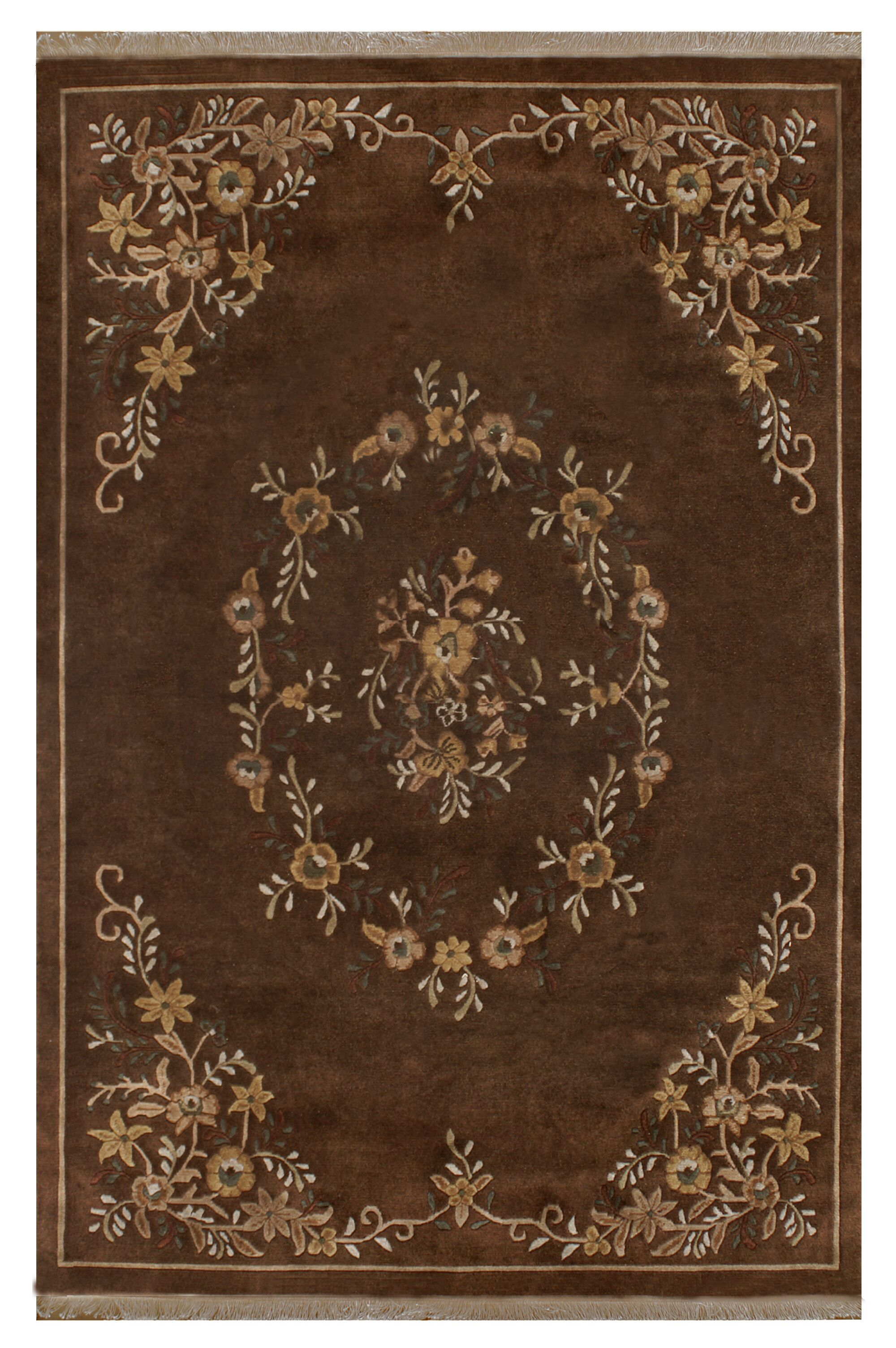 Aubusson Hand-Tufted Brown Area Rug Rug Size: Rectangle 7'6