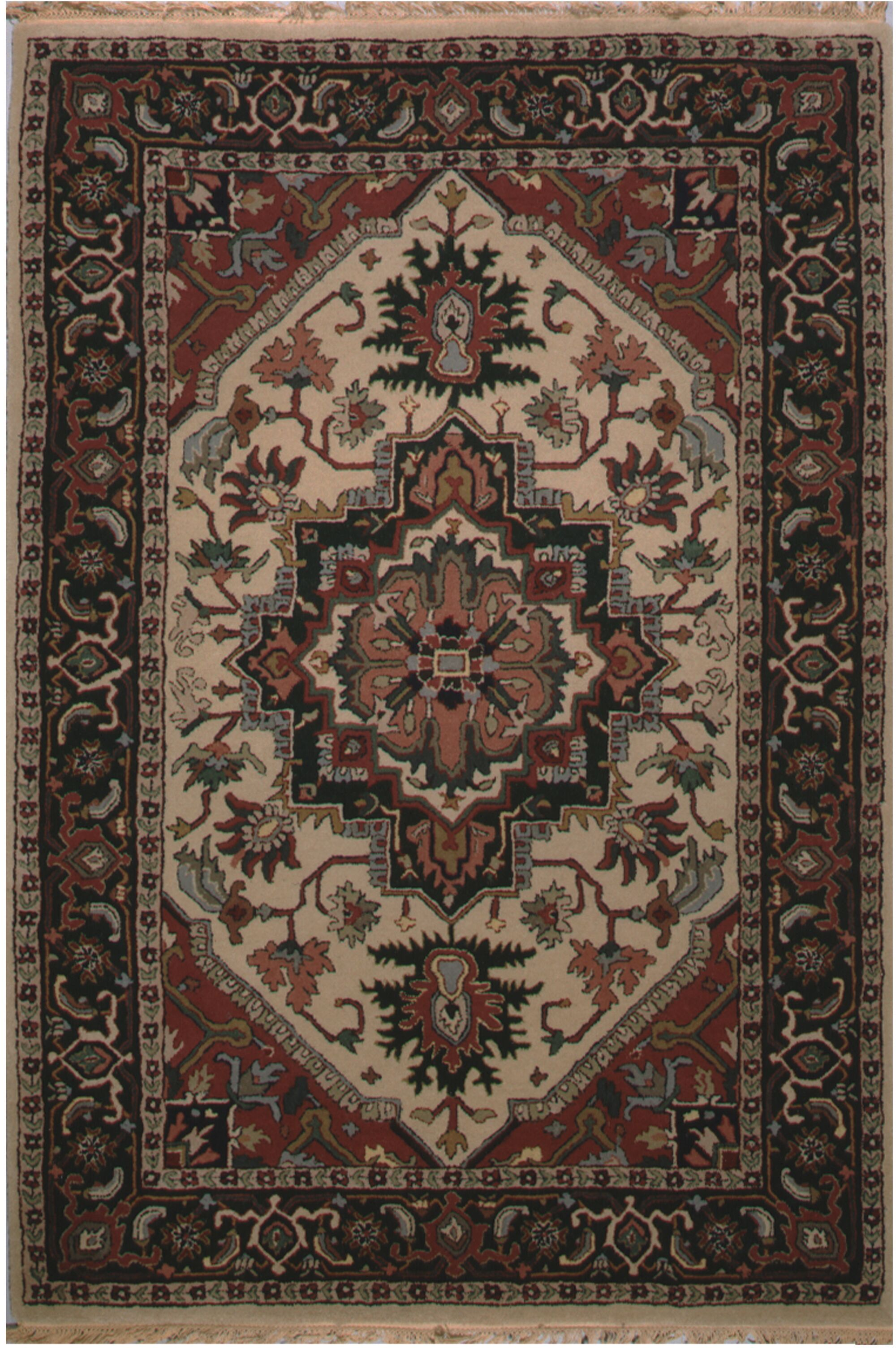 American Home Classic Heriz Hand-Tufted Antiqued Ivory Area Rug Rug Size: 2' x 3'