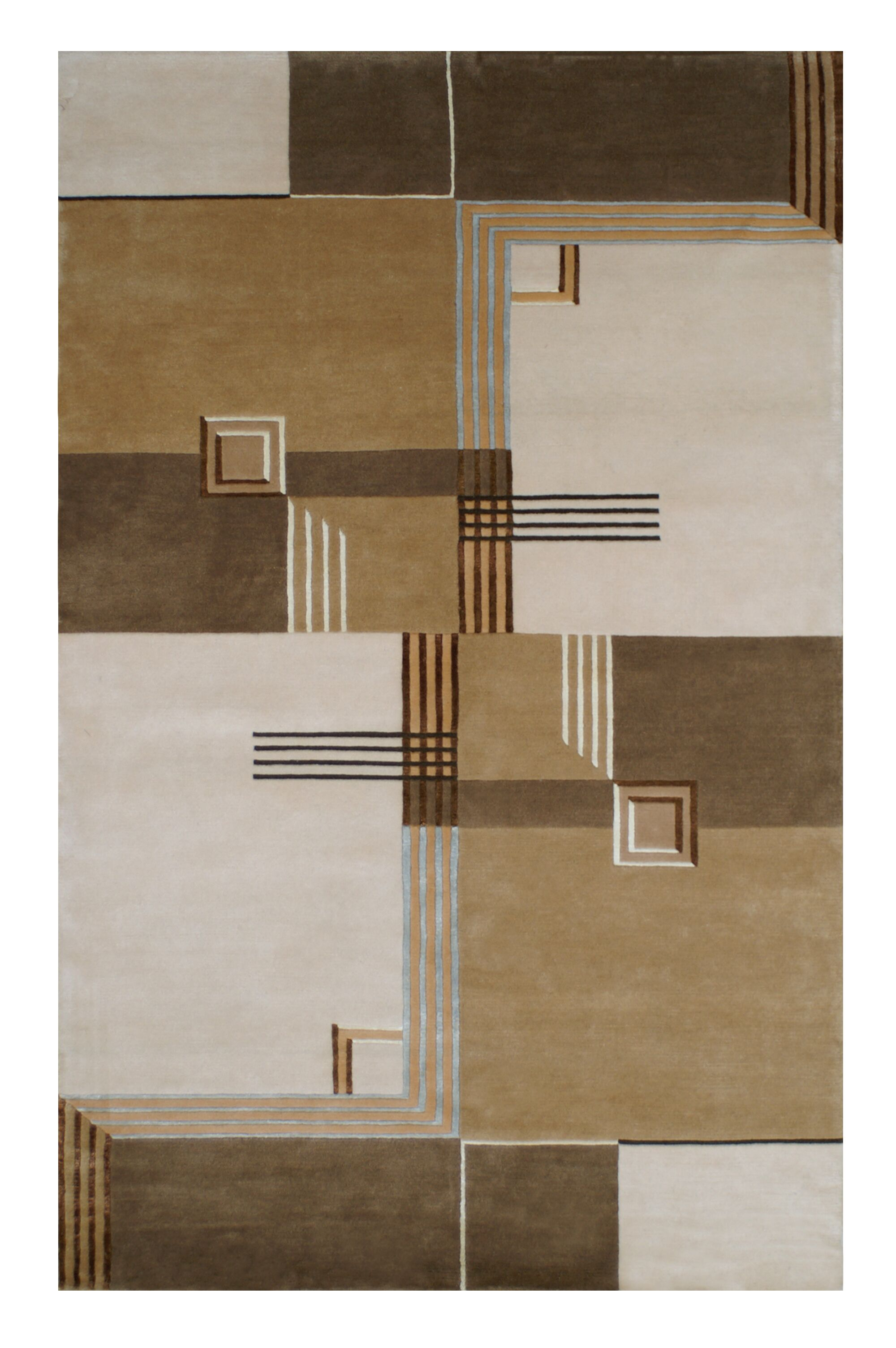 Creston Architectural Elements Hand Tufted Wool Brown Area Rug Rug Size: 5.6