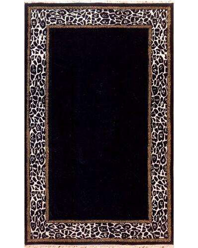 African Safari Animal Skin Border Black/Off White Area Rug Rug Size: Rectangle 8' x 11'