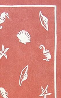 Beach Rug Light Coral Shells and Seahorses Novelty Hand Tufted Coral Area Rug Rug Size: 3'6