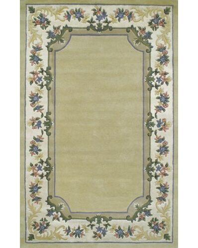 Beautiful Yellow/Ivory Border Pale Floral Border Area Rug Rug Size: Rectangle 3'6
