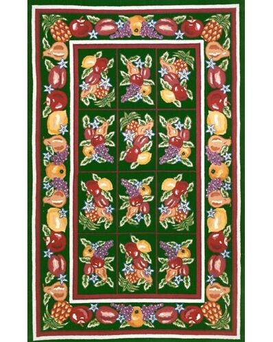 Bucks County Fruit Pettipoint Emerald Green Area Rug Rug Size: Runner 2'6