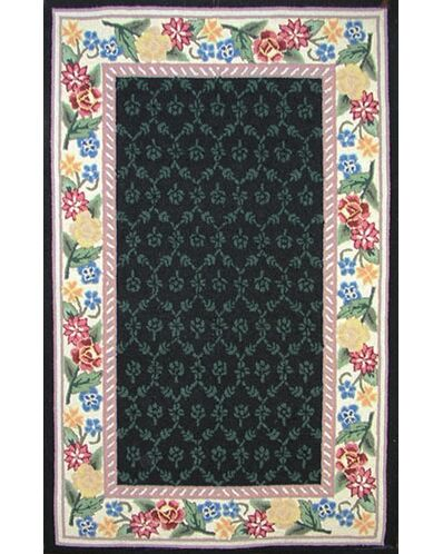 Bucks County Black/Ivory Damask Area Rug Rug Size: Runner 2'6