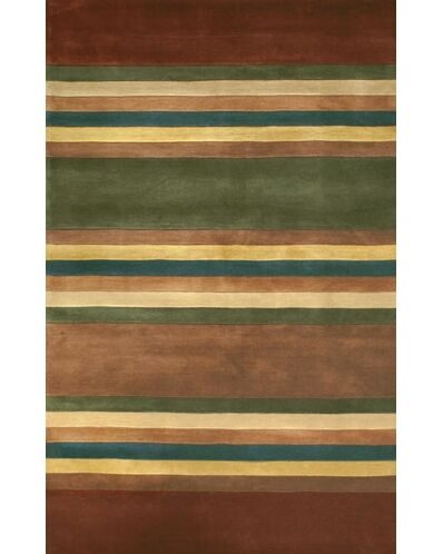 Casual Contemporary Earth Tones Modern Stripes Area Rug Rug Size: 8' x 11'