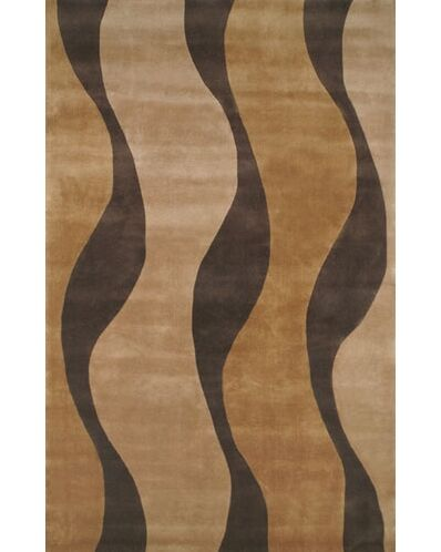 Casual Contemporary Gold / Brown Windsong Area Rug Rug Size: 3'6