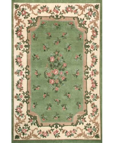 Floral Garden Aubusson Light Green/Ivory Area Rug Rug Size: Rectangle 8'6