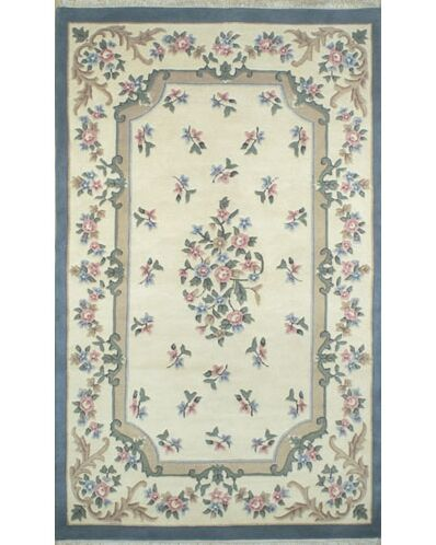 French Country Aubusson Ivory/Blue Area Rug Rug Size: Runner 2'6