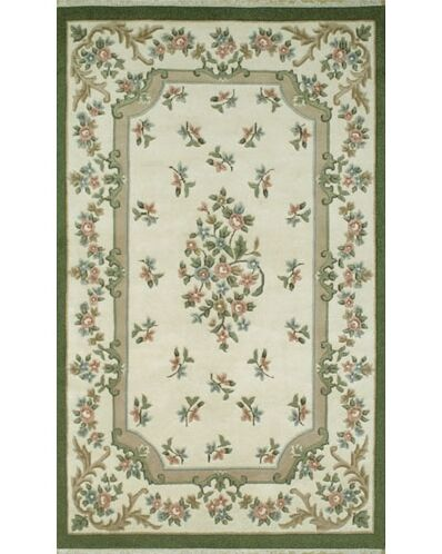 French Country Aubusson Ivory/Emerald Floral Area Rug Rug Size: Round 7'6