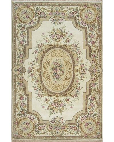 French Elegance Aubusson Floral Hand-Tufted Wool Ivory Area Rug Rug Size: Rectangle 3'6