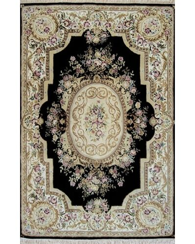 French Elegance Aubusson Oriental Hand-Tufted Wool Black/Ivory Area Rug Rug Size: Runner 2'6
