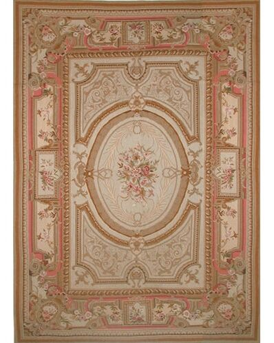 Liptak Needlepoint Aubusson Hand-Woven Wool Gold/Coral Area Rug Rug Size: Round 7'6