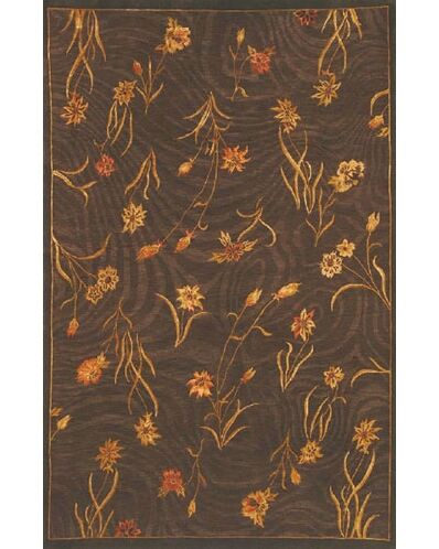 Neo Nepal Garden Flowers Brown Floral Area Rug Rug Size: Rectangle 5'6