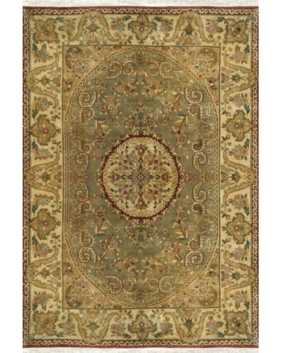Signature Heirloom Hand-Knotted Wool Sage/Gold Area Rug Rug Size: Runner 2'6