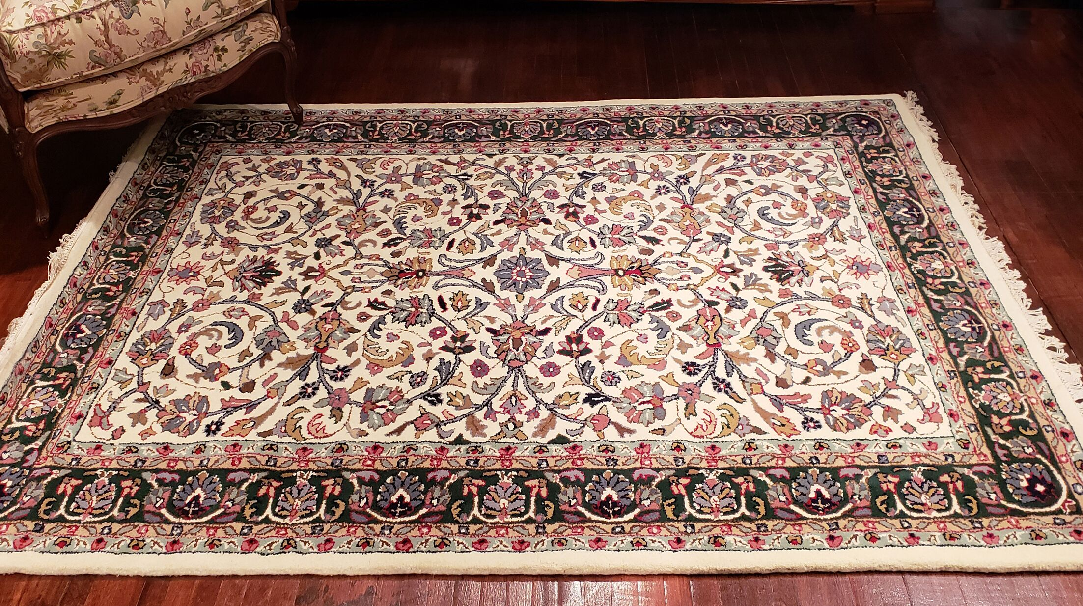 American Home Classic Kashan Ivory/Emerald Area Rug Rug Size: 8'6