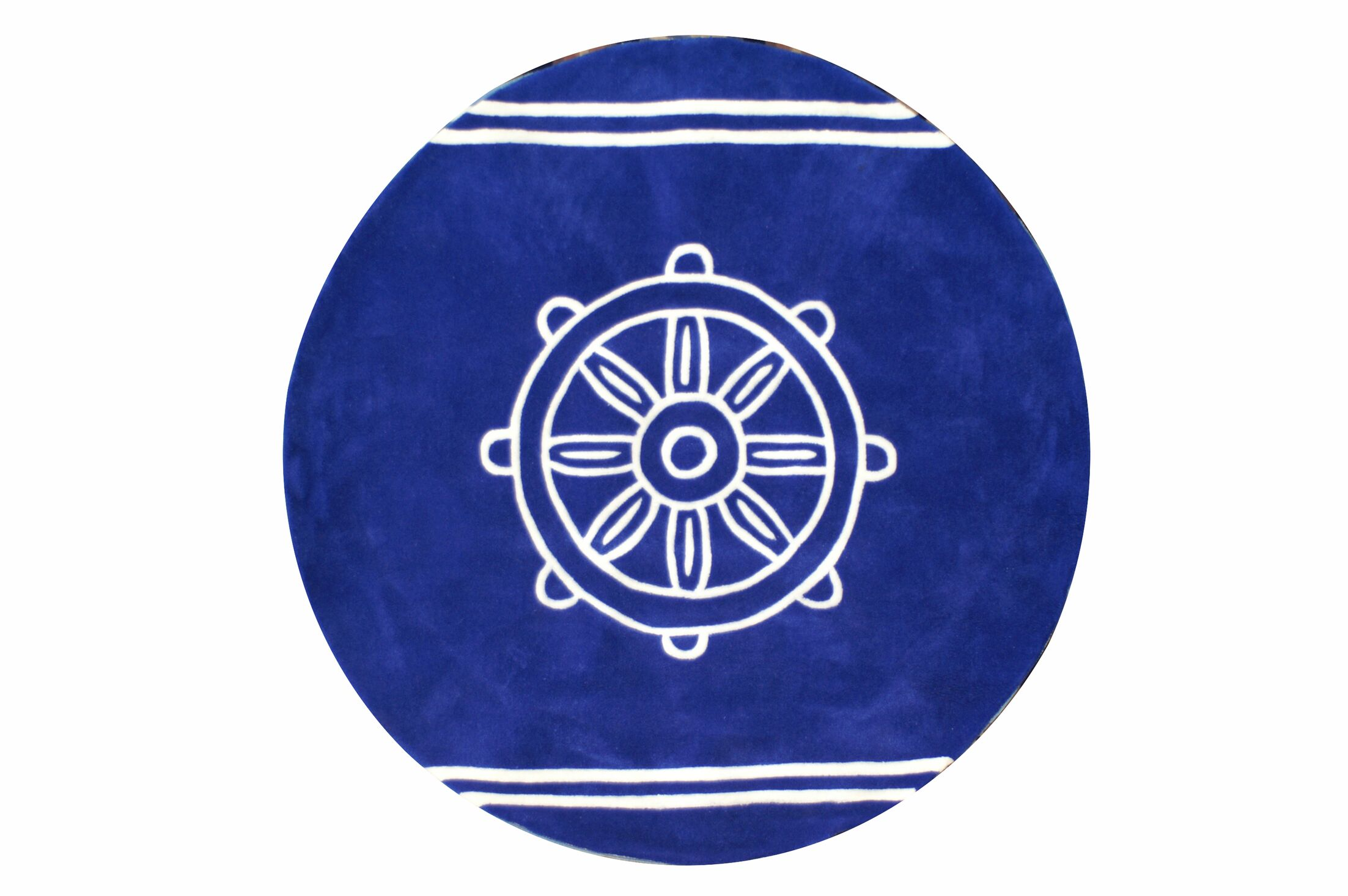 Kya Ship Wheel Hand-Tufted Blue/White Area Rug Rug Size: Round 5'