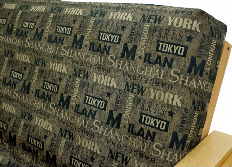 Municipal Sepia Box Cushion Futon Slipcover