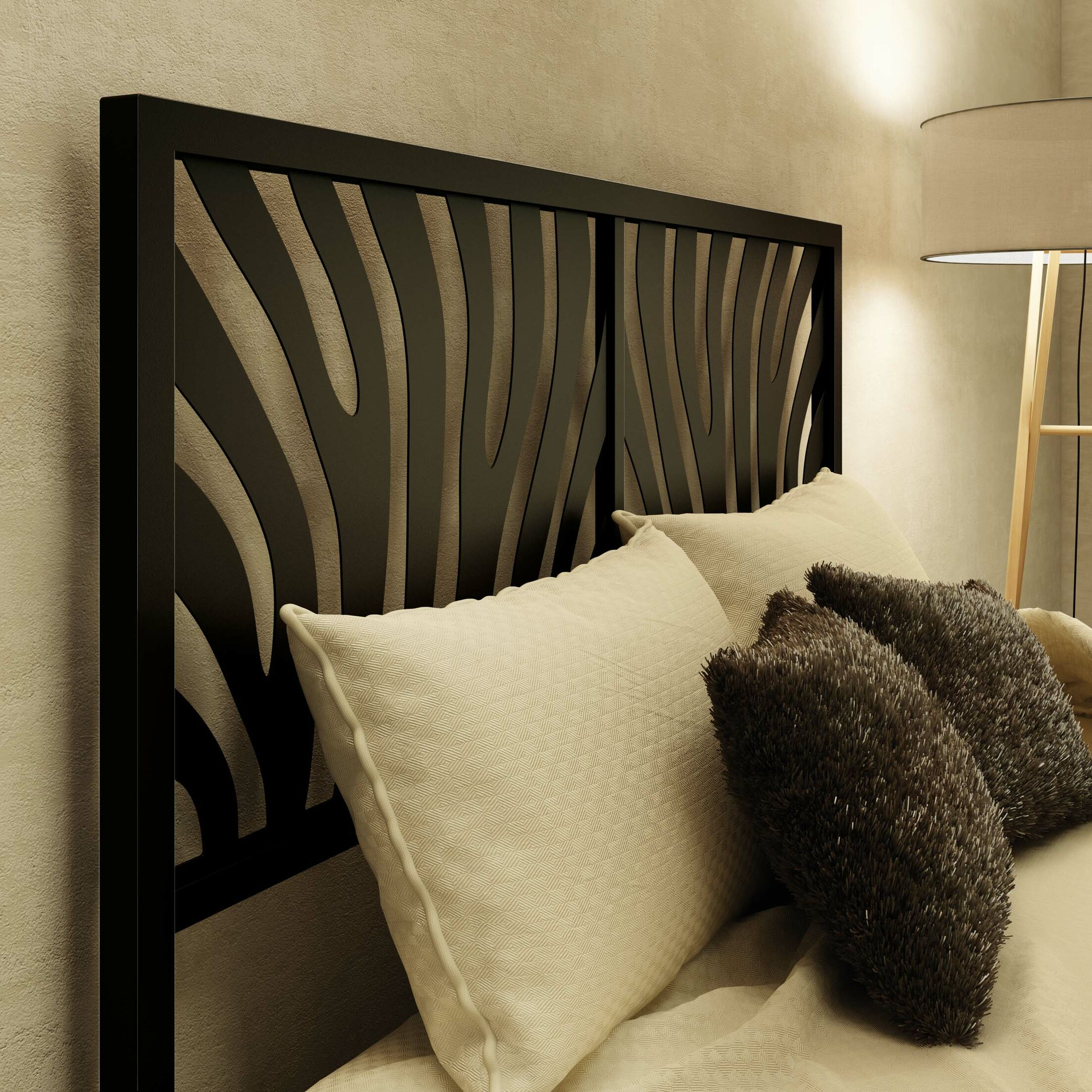 Zebra Open-Frame Headboard Size: Full, Color: Textured Black