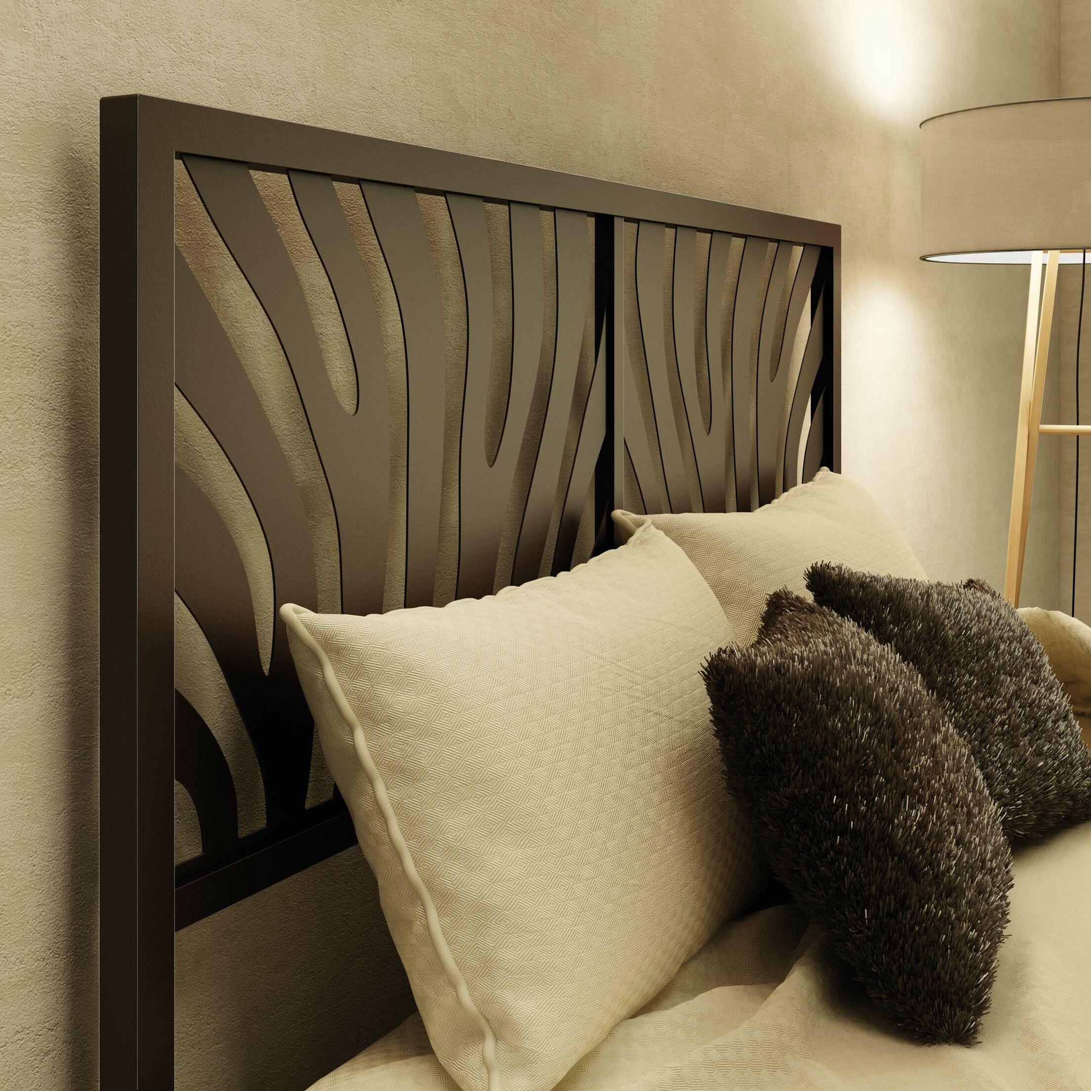 Zebra Open-Frame Headboard Color: Textured Dark Brown, Size: Queen