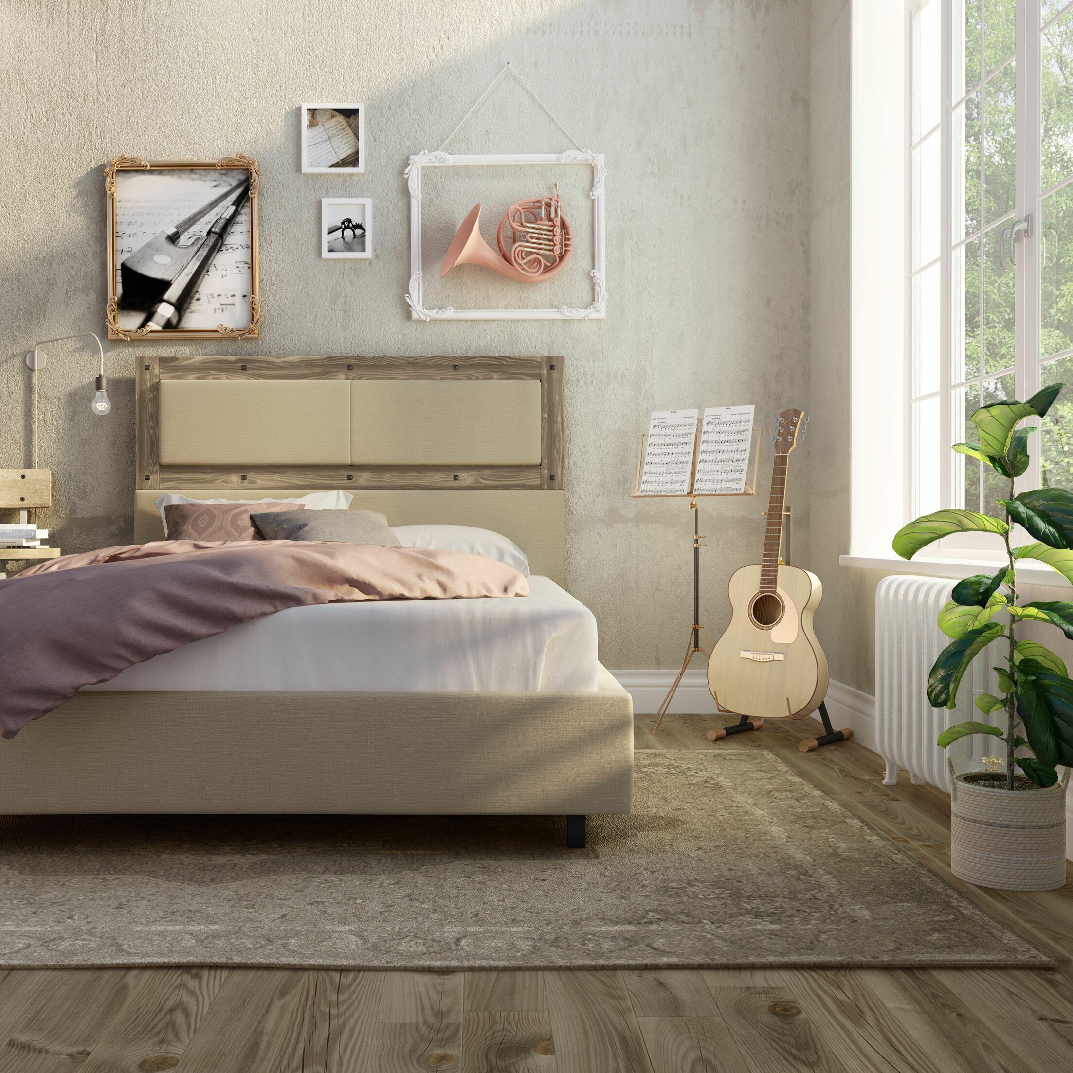 Ternes Upholstered Platform Bed Headboard Color: Beige Fabric, Frame Color: Beige Wood, Size: Queen
