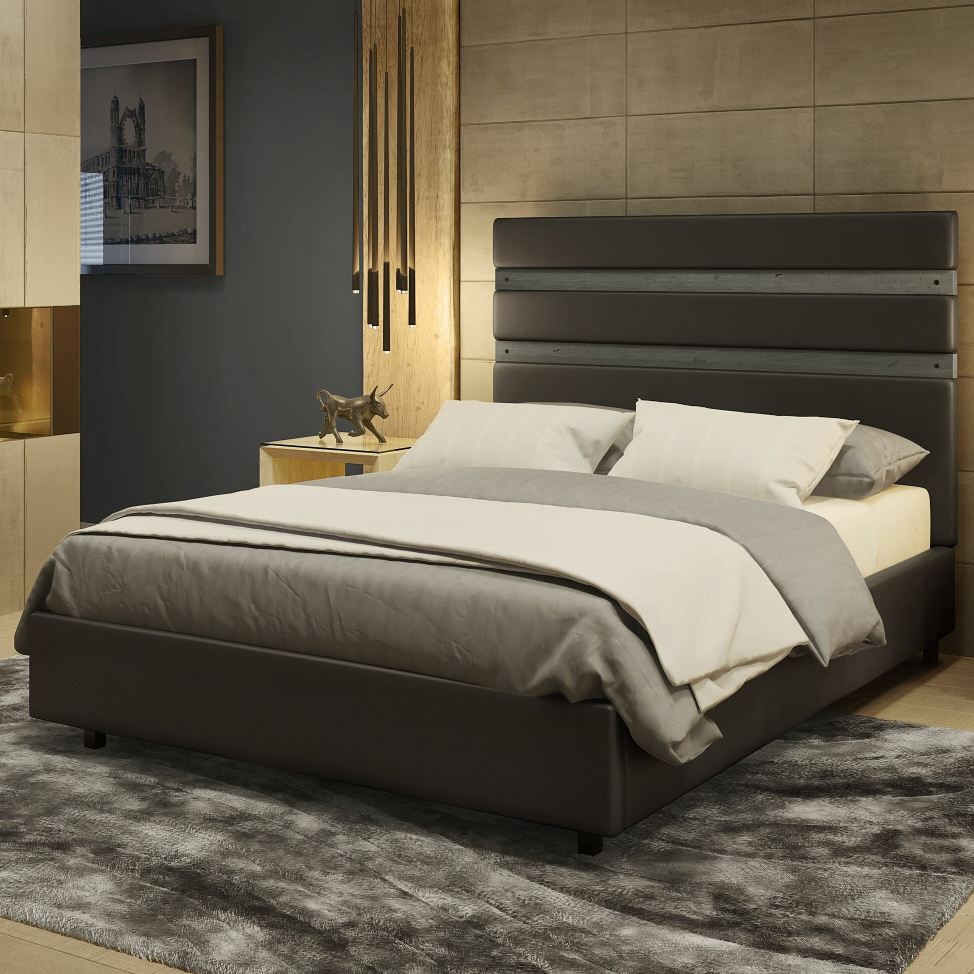 Dunder Upholstered Platform Bed Color: Charcoal/Gray, Size: Queen