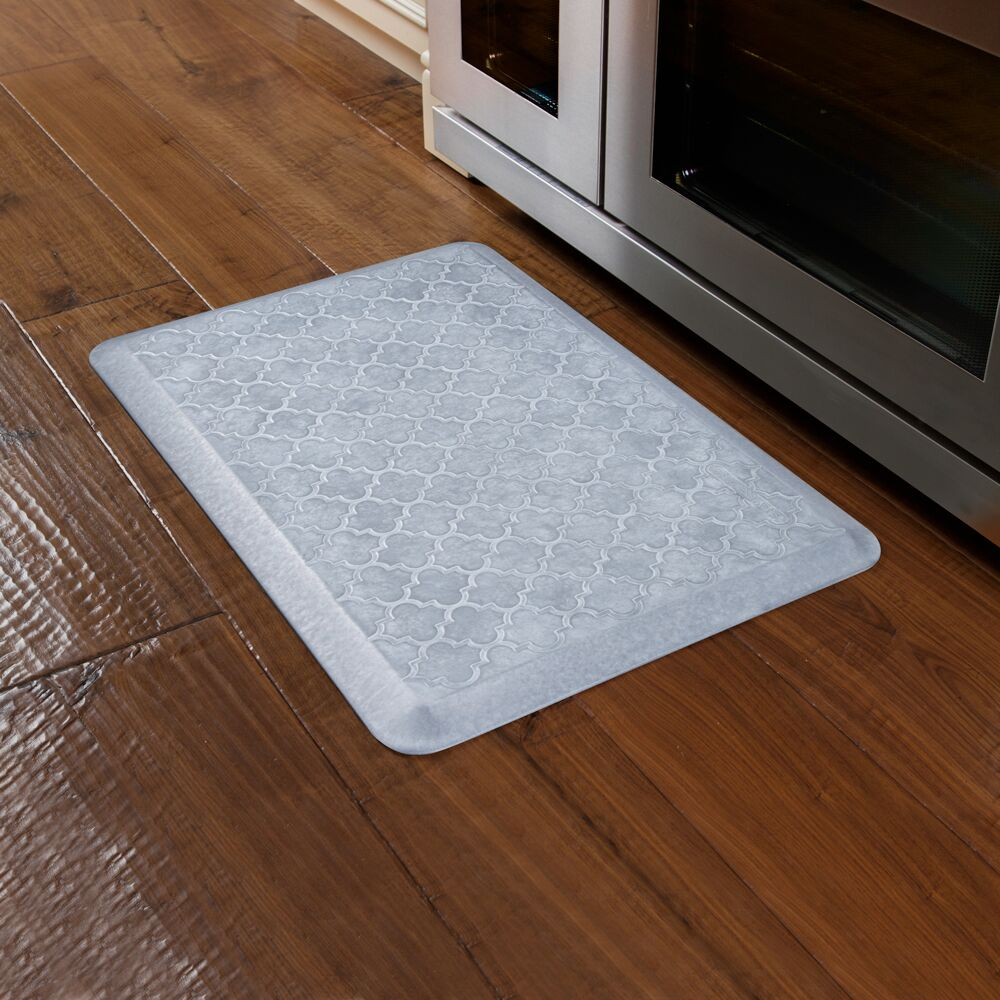 Tracey Trellis Kitchen Mat Color: Beach Glass, Mat Size: Rectangle 2' x 6'