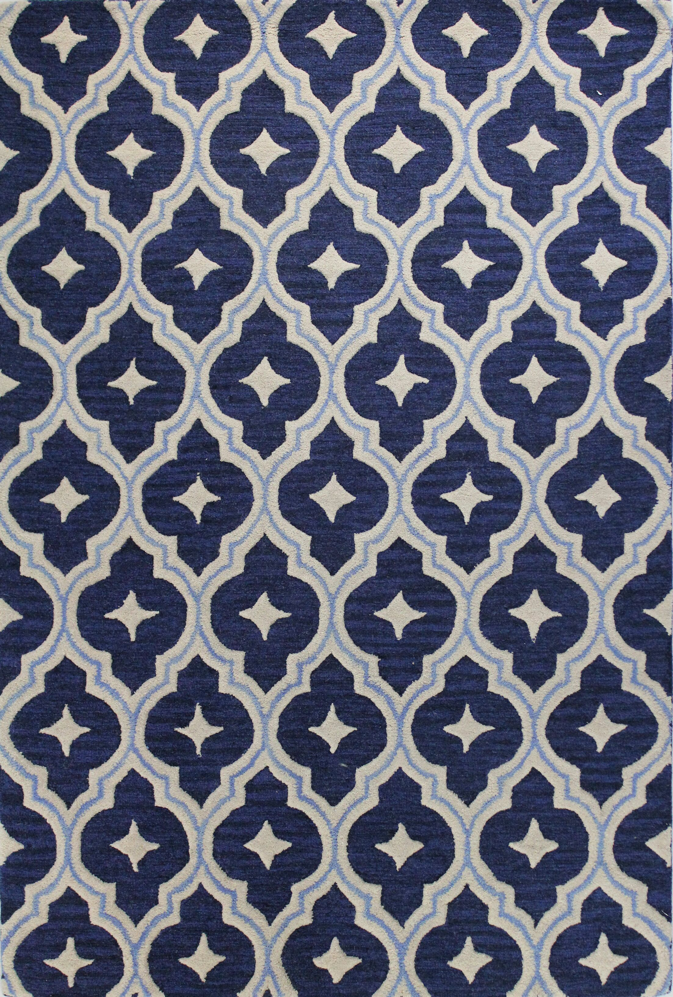 Norbert Hand-Tufted Navy Area Rug Rug Size: Rectangle 7'6