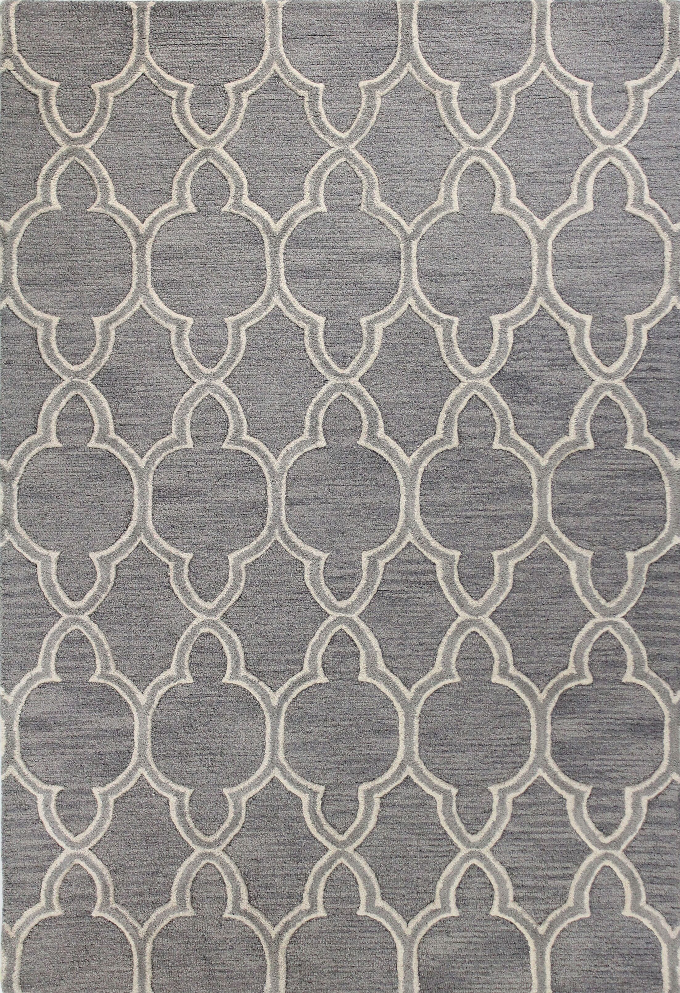 Octavia Hand-Tufted Grey Area Rug Rug Size: 7'6