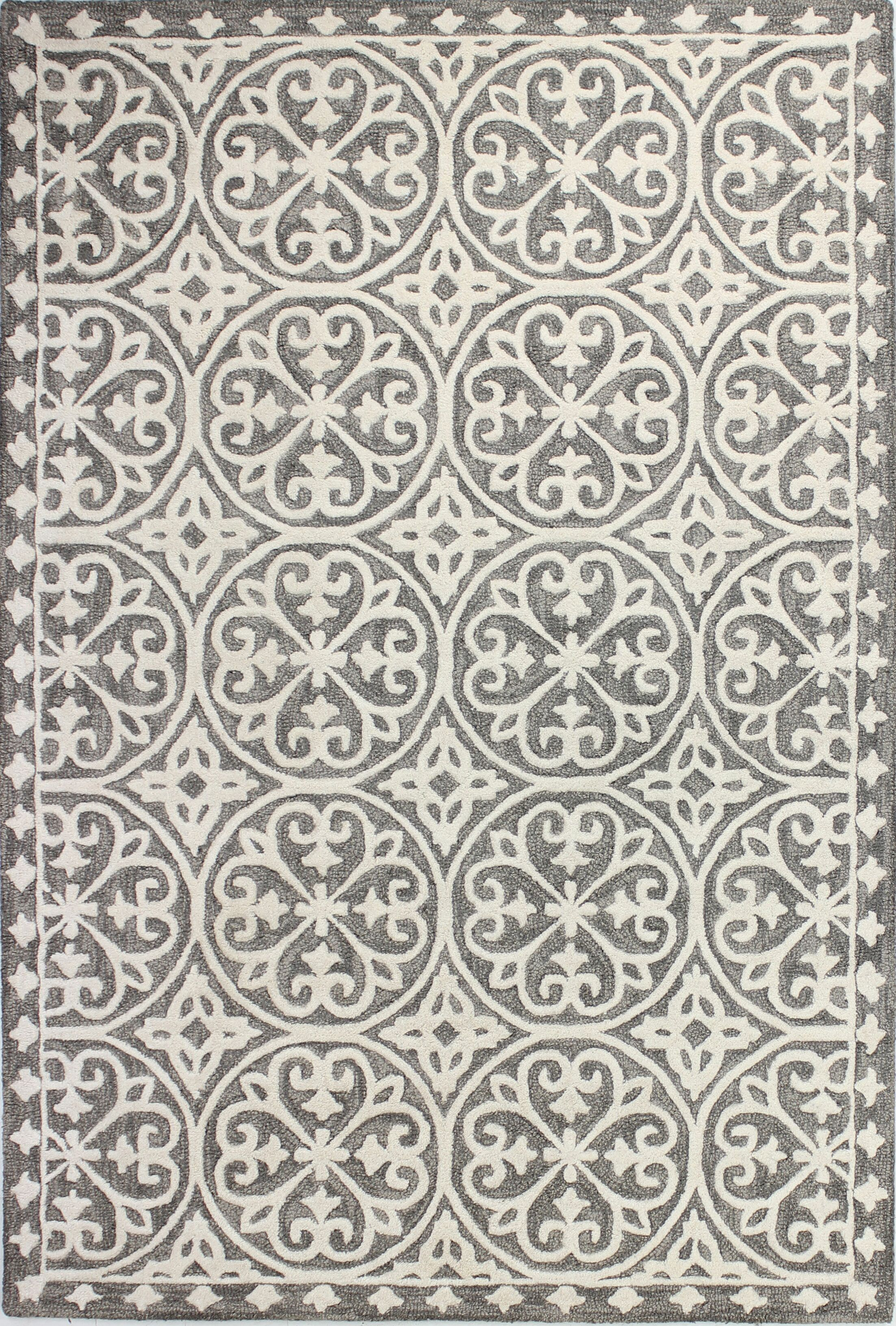 Dormont Hand-Tufted Gray Area Rug Rug Size: 5' x 7'6