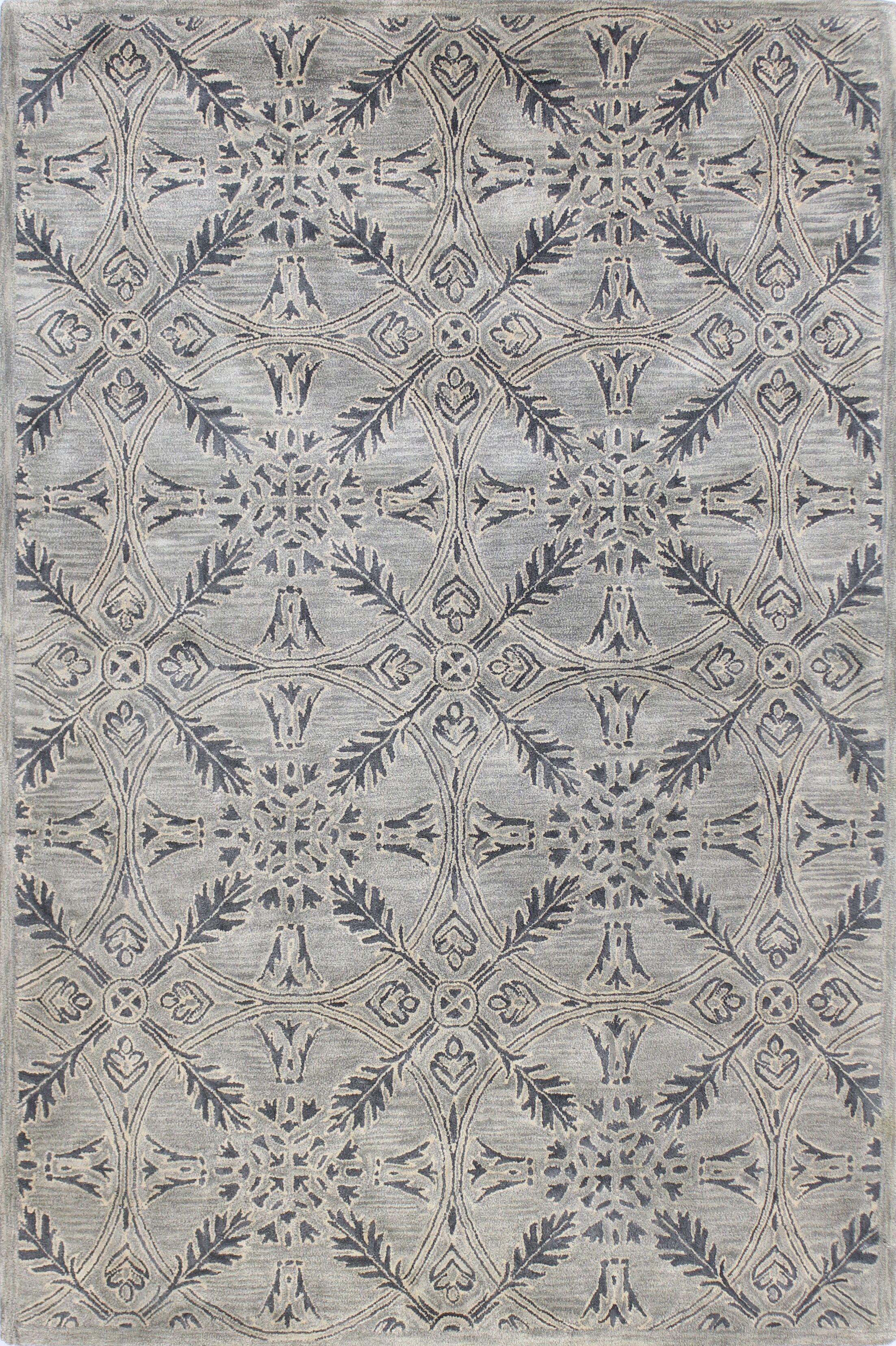 Rajput Hand-Woven Wool Gray Area Rug Rug Size: 5' x 7'6