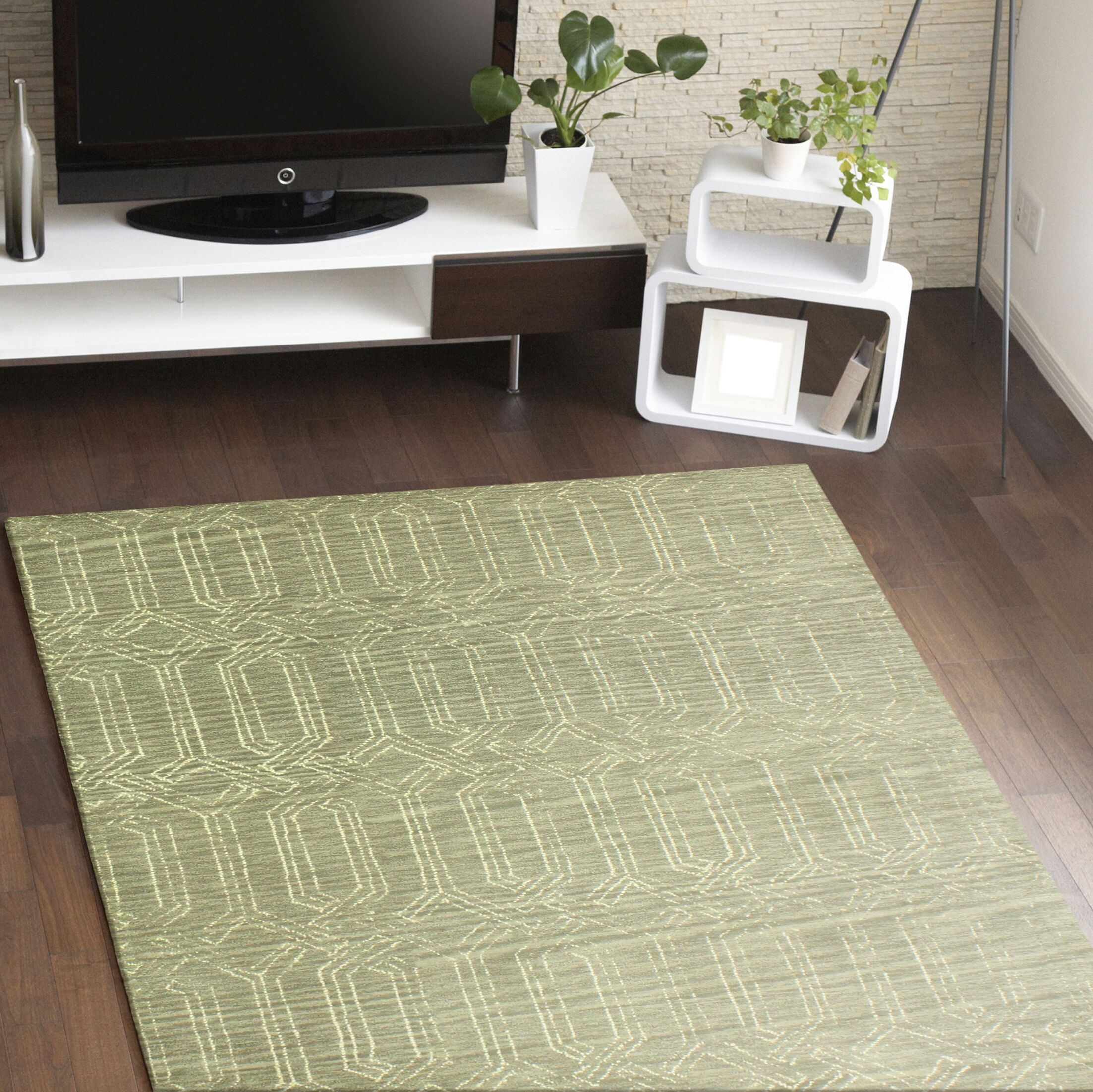 Bryden Hand-Tufted Taupe Area Rug Rug Size: 8'6