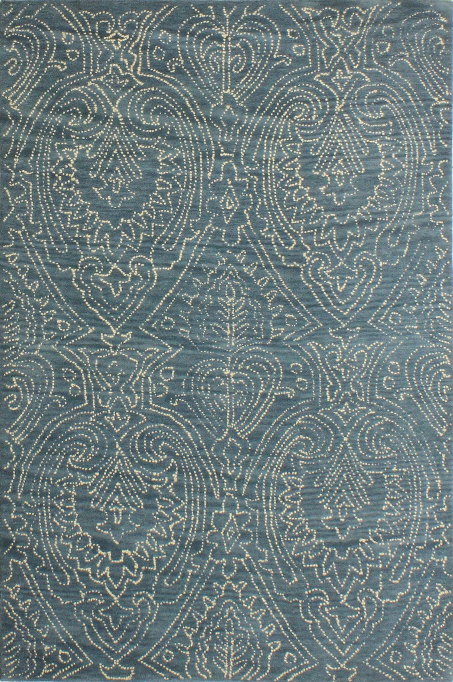 Goodridge Hand-Tufted Azure Area Rug Rug Size: 3'6