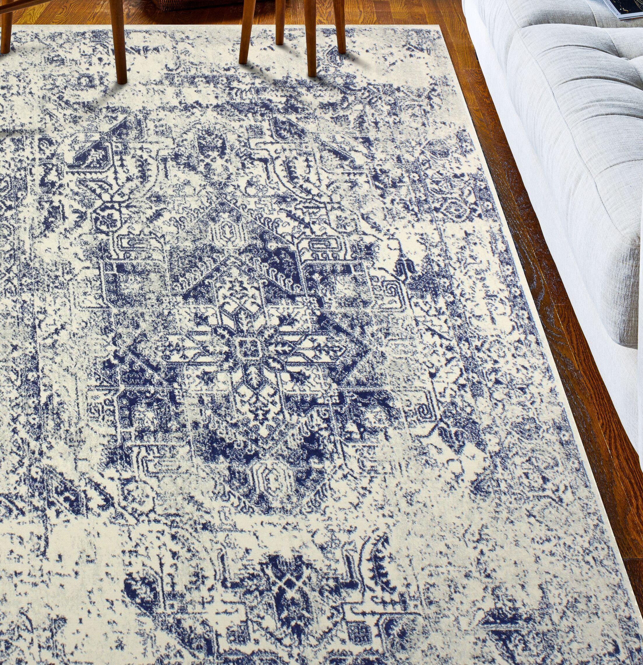 Arlingham Ivory/Blue Area Rug Rug Size: 8'6