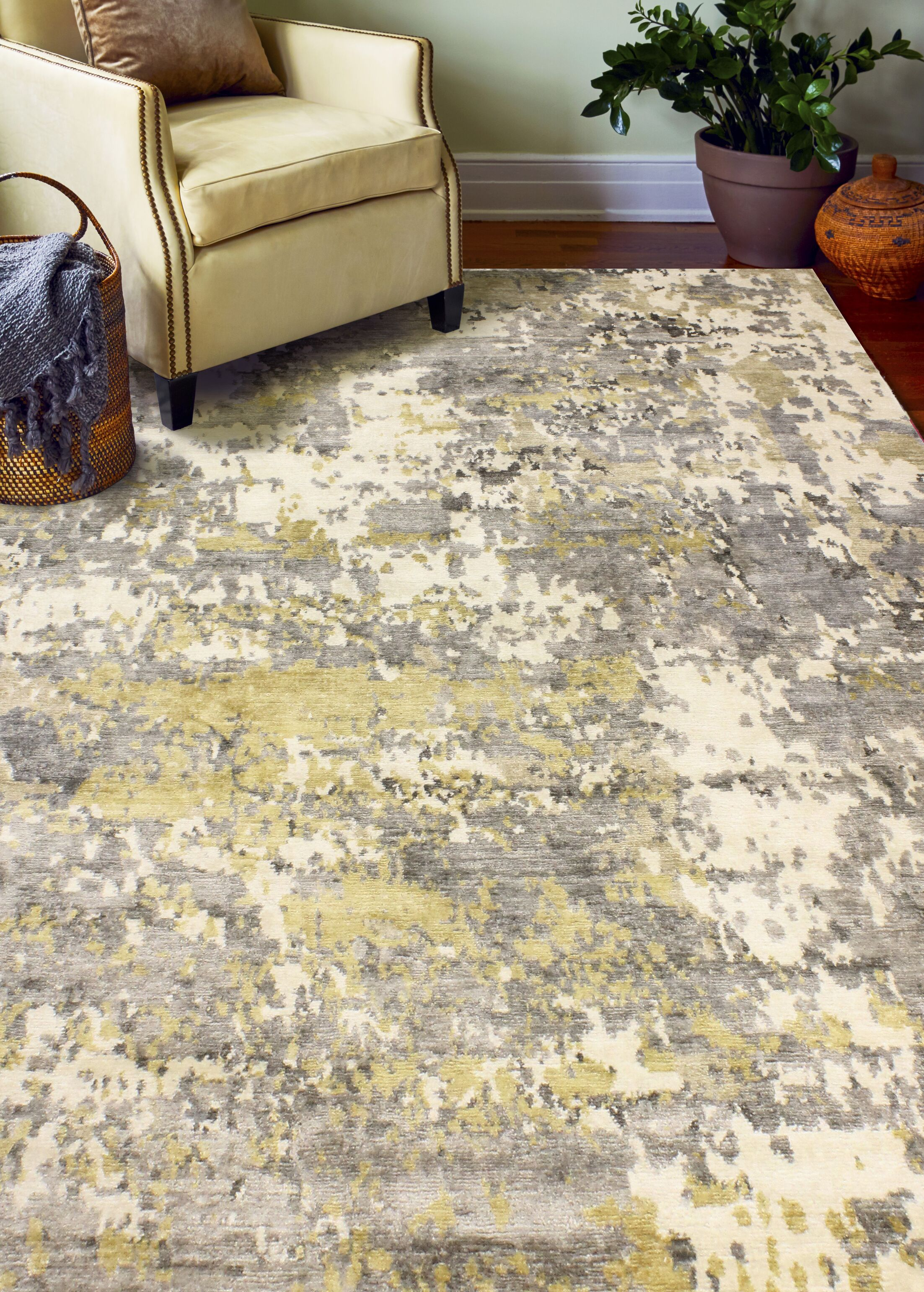 Darlene Hand-Knotted Ivory/Gray Area Rug Rug Size: 10' x 14'