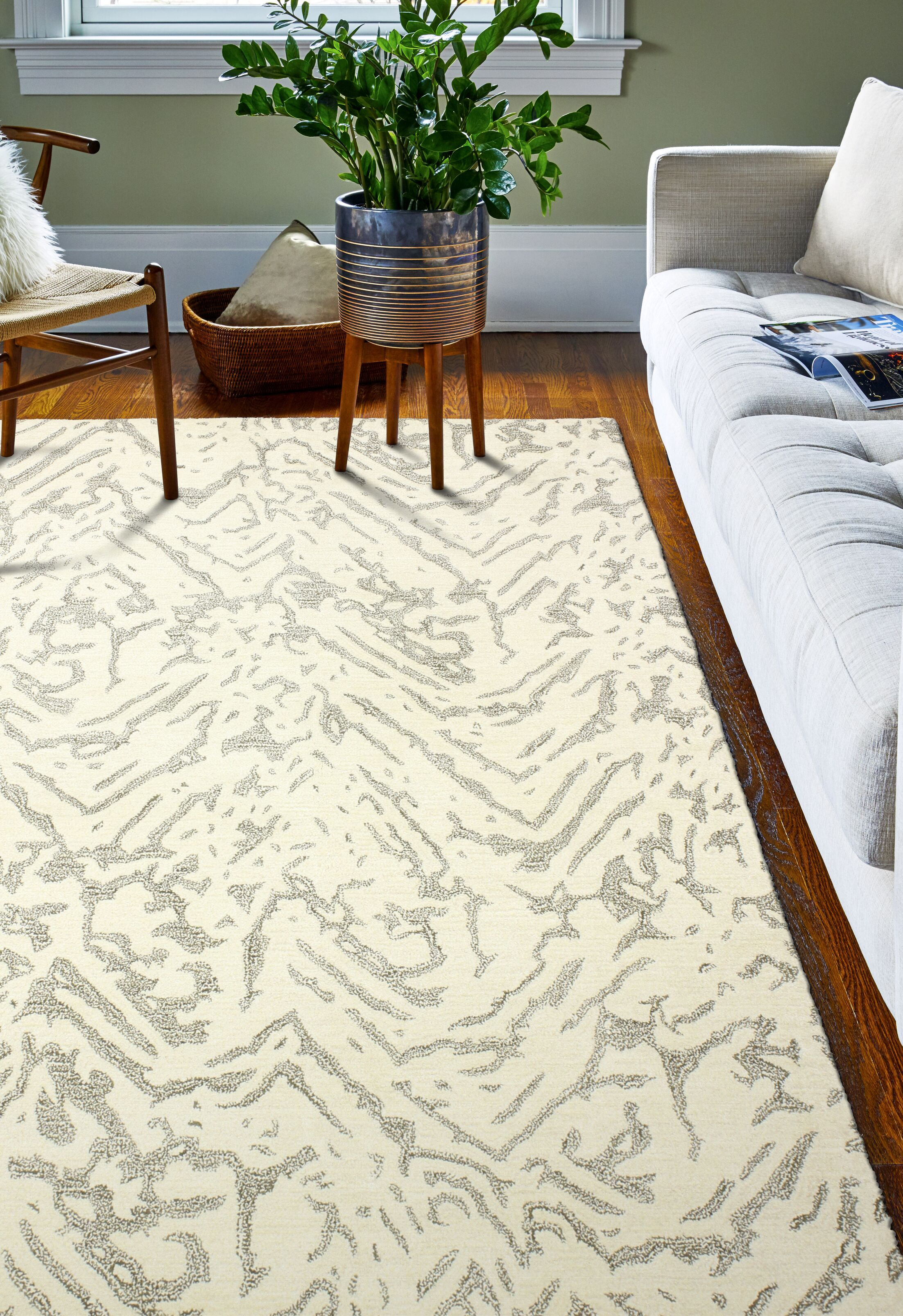 Jared Hand-Tufted White Area Rug Rug Size: 8' x 10'
